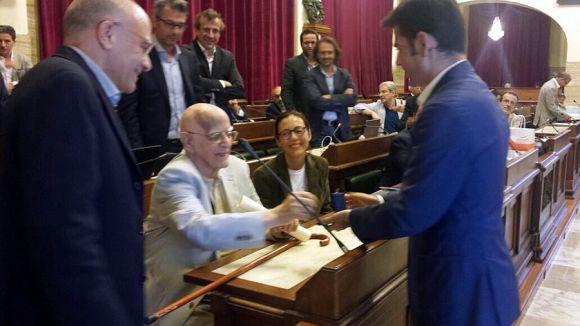 Il sindaco Massimo Zedda con Vittore Bocchetta